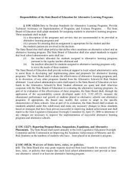 Responsibilities of the State Board of Education for Alternative Learning...  §  115C-12(24)