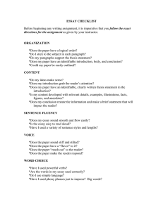 ESSAY CHECKLIST  ORGANIZATION follow the exact