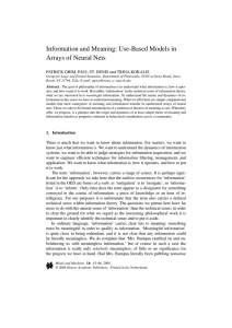 Information and Meaning: Use-Based Models in Arrays of Neural Nets