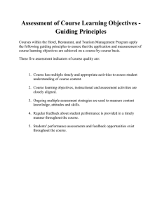 Assessment of Course Learning Objectives - Guiding Principles