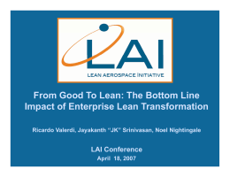 From Good To Lean: The Bottom Line LAI Conference