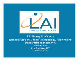 LAI Plenary Conference Breakout Session: Change Methodology, Planning and Standardization (Session II)