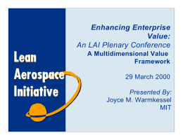 Enhancing Enterprise Value: An LAI Plenary Conference A Multidimensional Value