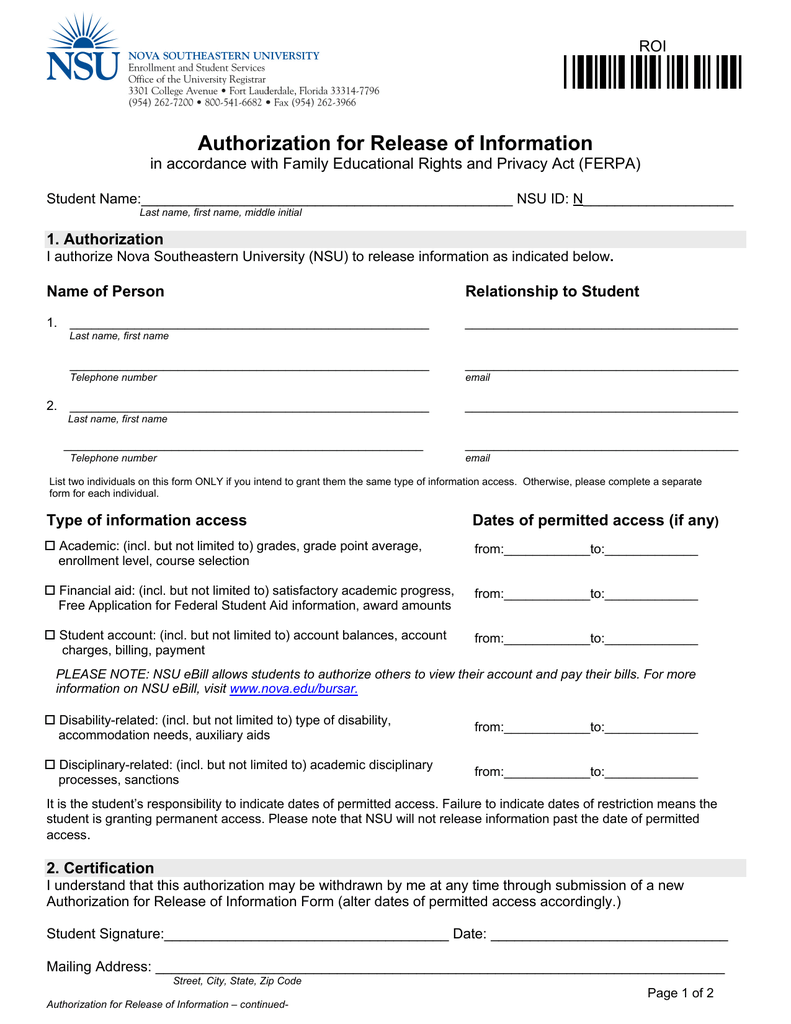 ferpa form financial aid  ROI* Authorization for Release of Information ROI