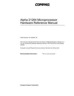 Alpha 21264 Microprocessor Hardware Reference Manual 21264 Specifications Revision 4.2