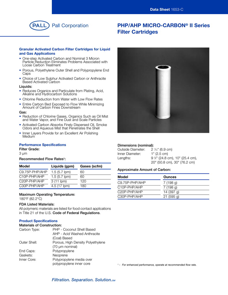 PHP/AHP MICRO-CARBON II Series Filter Cartridges Data Sheet