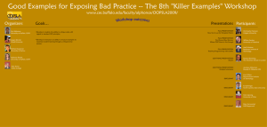 "Good Examples for Exposing Bad Practice -- The 8th ""Killer... www.cse.buffalo.edu/faculty/alphonce/OOPSLA2009/ Organizers Participants"