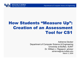 "How Students ""Measure Up"": Creation of an Assessment Tool for CS1"