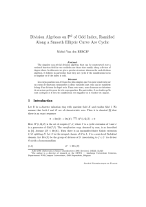 ⺠ Division Algebras on of Odd Index, Ramified
