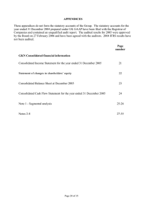 APPENDICES These appendices do not form the statutory accounts of the... year ended 31 December 2004 prepared under UK GAAP have...