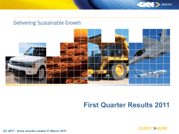 First Quarter Results 2011
