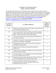 U.S. History NC Final Exam 2014–15 Number of Items per Objective