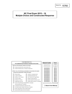 15760 NC Final Exam 2015 – 16 Mutiple-Choice and Constructed Response Form