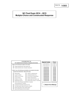 14966 NC Final Exam 2014 – 2015 Mutiple-Choice and Constructed Response Special Codes