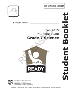 RELEASED Student Booklet Grade 7 Science Fall 2015