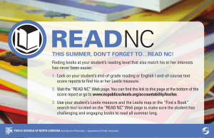 READ NC This summer, don'T forgeT To…reAd nC!