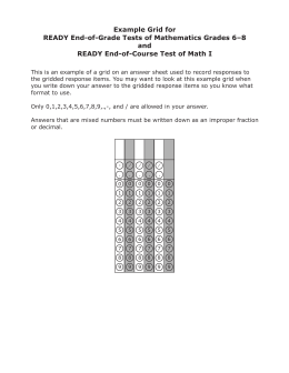 Example Grid for READY End-of-Grade Tests of Mathematics Grades 6–8 and