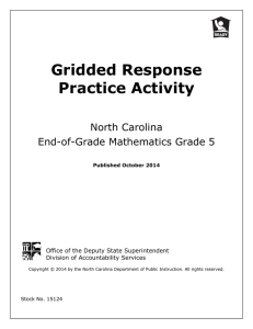Gridded Response Practice Activity  North Carolina