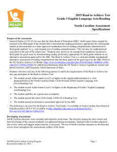 2015 Read to Achieve Test Grade 3 English Language Arts/Reading