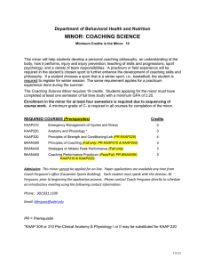 MINOR: COACHING SCIENCE  Department of Behavioral Health and Nutrition