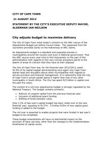 City adjusts budget to maximise delivery CITY OF CAPE TOWN