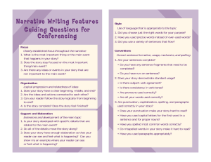 Narrati ve Wri ting Features Guiding Questions for Conferencing