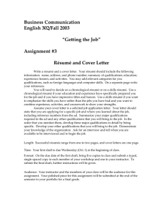 "Business Communication English 302/Fall 2003  ""Getting the Job"""