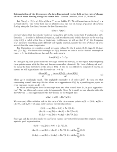 Interpretation of the divergence of a two-dimensional vector field as... of small areas flowing along the vector field. Laurent Demanet,...