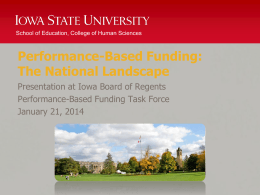 Performance-Based Funding: The National Landscape Presentation at Iowa Board of Regents
