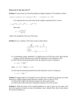 Homework #2, Due date Feb 11  Problem 1