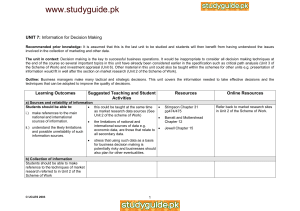 www.studyguide.pk UNIT 7: Information for Decision Making