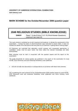 2048 RELIGIOUS STUDIES (BIBLE KNOWLEDGE)