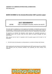 2217 GEOGRAPHY  MARK SCHEME for the October/November 2007 question paper