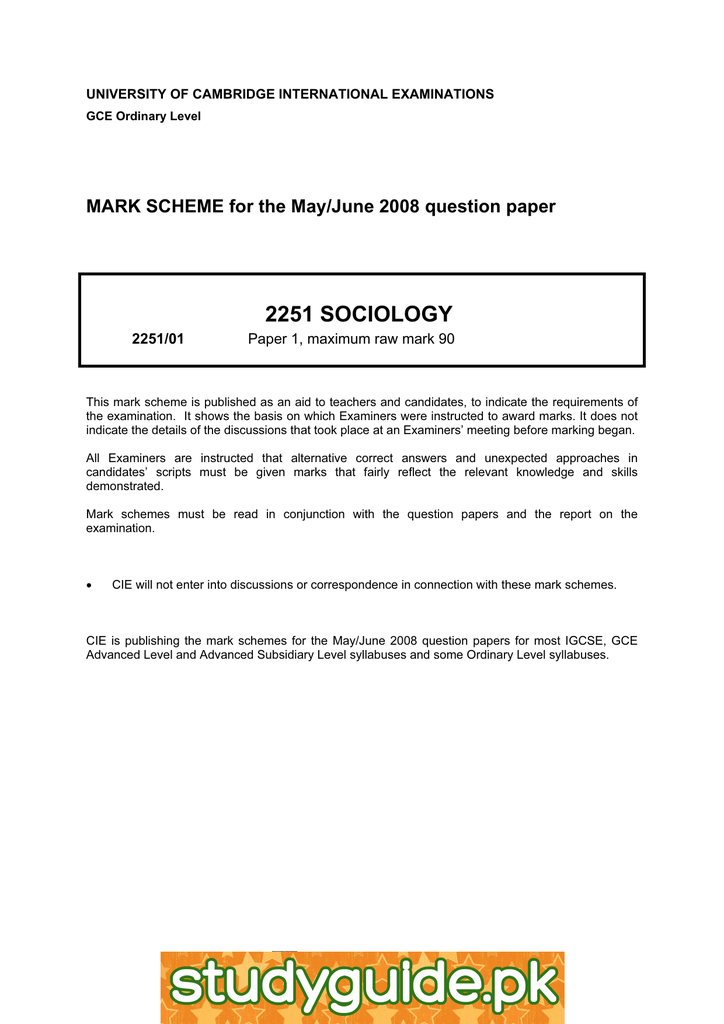 2251 SOCIOLOGY MARK SCHEME for the May/June 2008 question paper