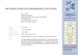 MULTIPLICATION OF SUBHARMONIC FUNCTIONS R. SUPPER