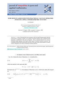 SOME RESULTS ASSOCIATED WITH FRACTIONAL CALCULUS OPERATORS INVOLVING APPELL HYPERGEOMETRIC FUNCTION