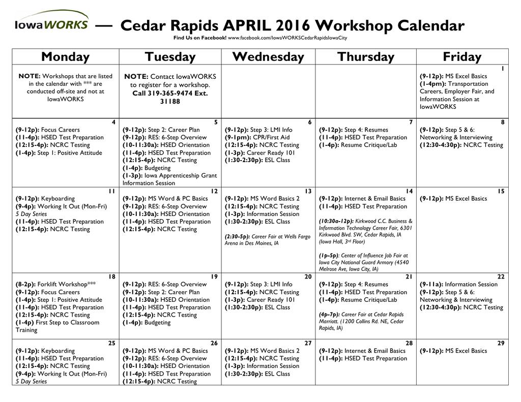 Cedar Rapids APRIL 2016 Workshop Calendar