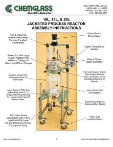 10L, 15L, & 20L JACKETED PROCESS REACTOR ASSEMBLY INSTRUCTIONS