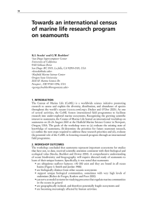 Towards an international census of marine life research program on seamounts K.I. Stocks