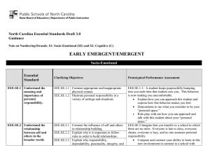 EARLY EMERGENT/EMERGENT  North Carolina Essential Standards Draft 3.0 Guidance