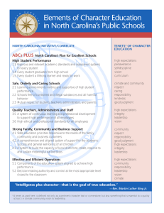 Elements of Character Education in North Carolina's Public Schools ABCs PLUS
