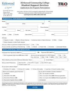 Student Support Services Application for Program Participation Kirkwood Community College Learning Services
