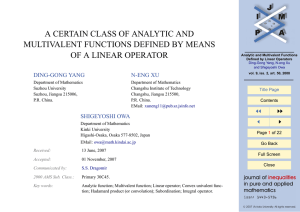 A CERTAIN CLASS OF ANALYTIC AND MULTIVALENT FUNCTIONS DEFINED BY MEANS