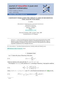 COEFFICIENT INEQUALITIES FOR CERTAIN CLASSES OF RUSCHEWEYH TYPE ANALYTIC FUNCTIONS