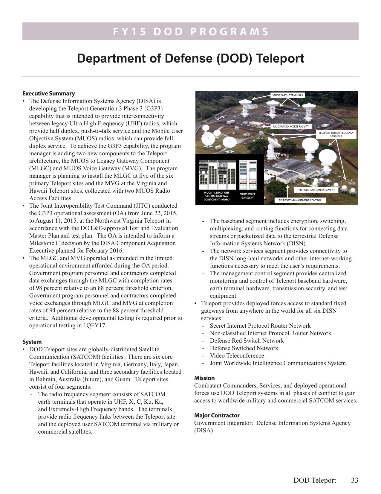 Department of Defense (DOD) Teleport