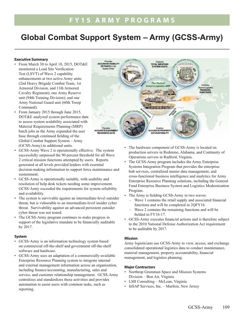 global combat support system – army (gcss-army)
