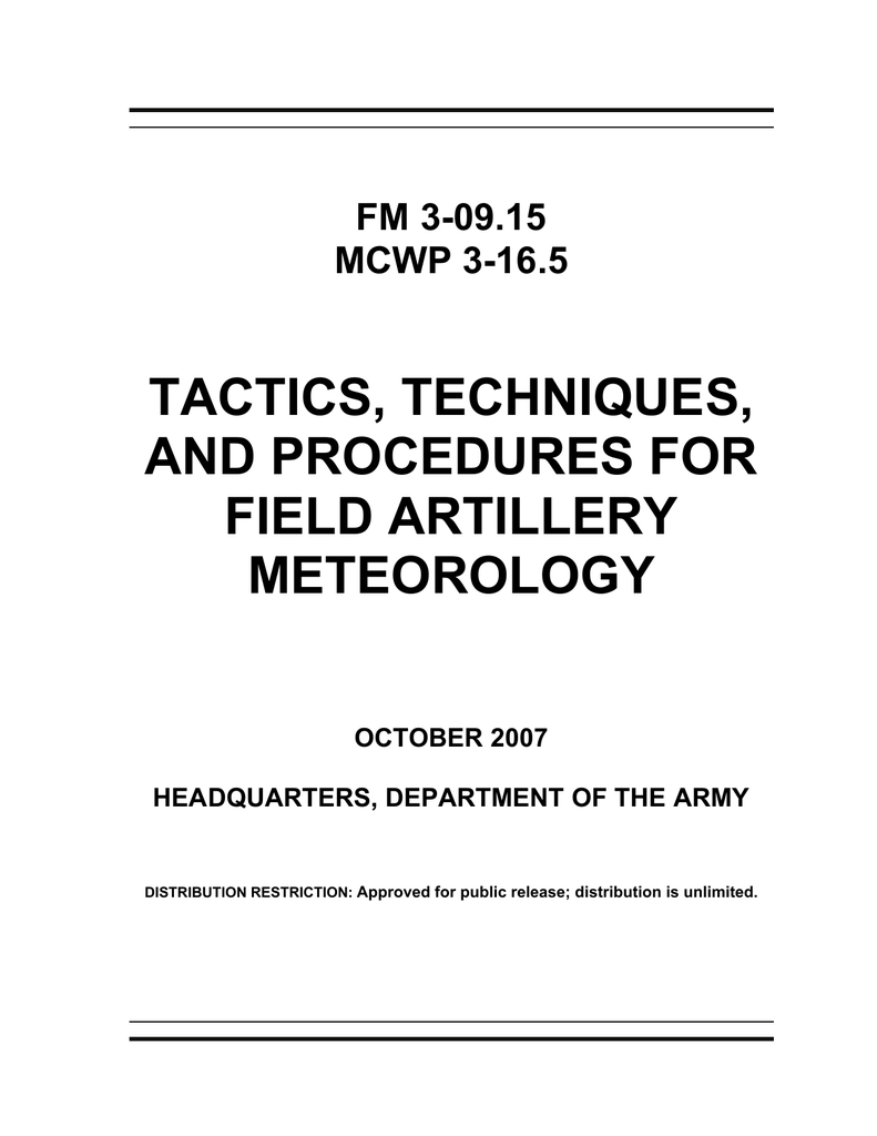 TACTICS, TECHNIQUES, AND PROCEDURES FOR FIELD ARTILLERY ... on