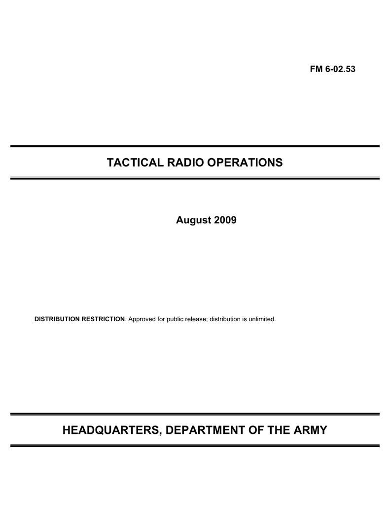 TACTICAL RADIO OPERATIONS HEADQUARTERS, DEPARTMENT OF THE