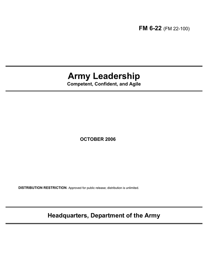 Army Leadership FM 6-22 Headquarters, Department of the Army