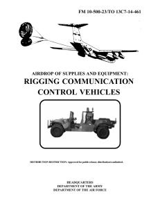 RIGGING COMMUNICATION CONTROL VEHICLES FM 10-500-23/TO 13C7-14-461 AIRDROP OF SUPPLIES AND EQUIPMENT: